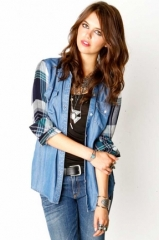 Plaid denim shirt by Rails at The Trend Boutique