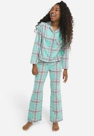 Plaid flannel pajamas at Justice