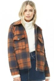 Plaid fleece jacket at Forever 21