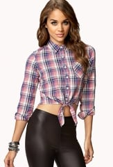 Plaid tie front shirt at Forever 21