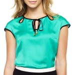 Plain green keyhole blouse at JC Penney