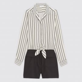 Playsuit with Striped Tie-Front Shirt by Sandro at Sandro