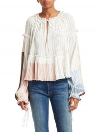 Pleated Peplum Crop Blouse at Saks Fifth Avenue