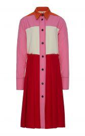 Pleated Color Block Crepe Midi Dress at Moda Operandi