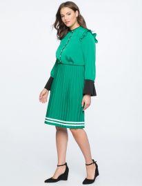 Pleated Contrast Cuff Dress at Eloquii