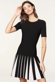 Pleated Contrast Dress by Milly at Milly