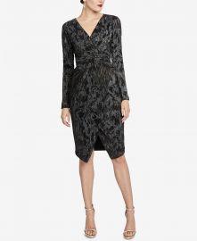Pleated Faux-Wrap Dress at Macys