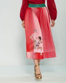 Pleated Fencing Print Midi Skirt at Century 21