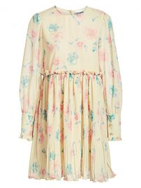 Pleated Floral Georgette Babydoll Dress by Ganni at Saks Off 5th
