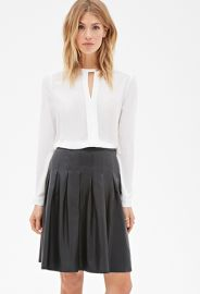 Pleated Leather Skirt at Forever 21
