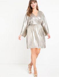 Pleated Metallic Wrap Dress at Eloquii