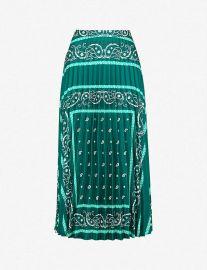 Pleated Printed Satin-Twill Midi Skirt by Sandro at Selfridges