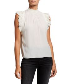 Pleated Ruffle-Trim Sleeveless Top by Frame at Neiman Marcus