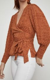 Pleated Shoulder Wrap Top by BCBGMAXAZRIA at BCBG