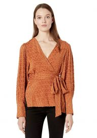 Pleated Shoulder Wrap Top by Bcbgmaxazria at Amazon