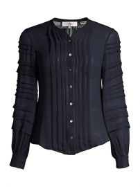 Pleated Silk Chiffon Blouse at Saks Fifth Avenue