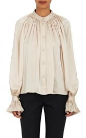 Pleated Silk Satin Blouse by Co at Barneys