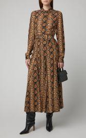 Pleated Snake-Print Silk Crepe De Chine Midi Dress at Moda Operandi