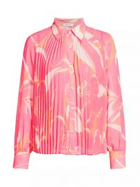 Pleated Stencil Floral Shirt by Milly at Saks Fifth Avenue
