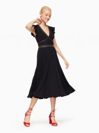 Pleated Stud Crepe Dress at Kate Spade