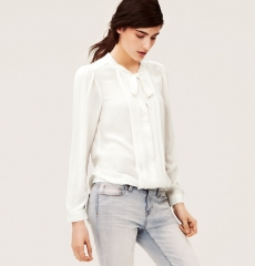 Pleated Tie Neck Blouse at Loft