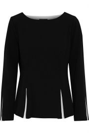 Pleated Two-Tone Stretch-Crepe Top by Donna Karan at The Outnet