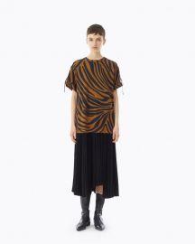 Pleated Zebra Print T-Shirt Dress at Phillip Lim