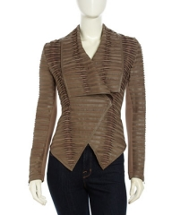 Pleated and Tucked Leather Jacket at Last Call