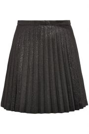 Pleated cotton-blend lamé mini skirt at The Outnet