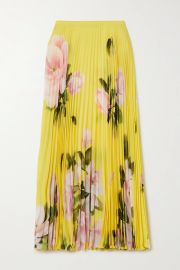 Pleated floral-print silk-crepe midi skirt at Net a Porter