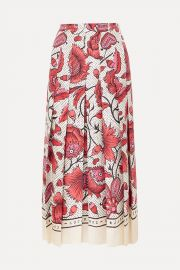 Pleated floral-print silk-twill skirt by Gucci at Net a Porter
