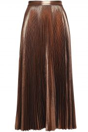 Pleated lamé midi skirt at The Outnet