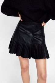 Pleated leather skirt at Zara