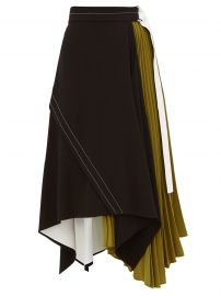 Pleated leather-trim matte-crepe skirt at Matches