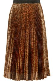 Pleated leopard-print silk-blend lame midi skirt by Christopher Kane at Net A Porter