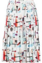 Pleated printed crepe de chine skirt at The Outnet