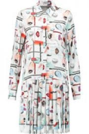 Pleated printed voile mini dress at The Outnet