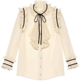 Pleated silk georgette shirt at Gucci