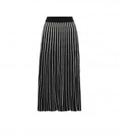 Pleated striped knit midi skirt at Mytheresa