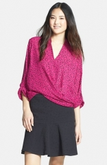 Pleione Faux Wrap Blouse in pink at Nordstrom