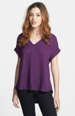 Pleione Mixed Media HighLow Top at Nordstrom