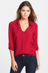 Pleione Mixed Media Shirt in red at Nordstrom
