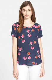 Pleione Pleat Back Woven Print Top in Flower Print at Nordstrom