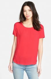 Pleione Pleat Back Woven Print Top in Red Pointsetta at Nordstrom