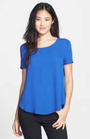 Pleione Pleat Back Woven Print Top in blue at Nordstrom