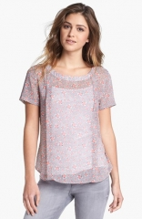 Pleione Pleated Print Woven Blouse at Nordstrom