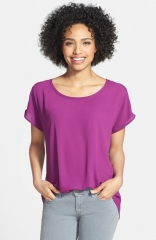 Pleione Scoop Neck Short Sleeve Blouse in purple at Nordstrom