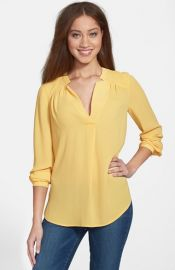 Pleione Shirred Shoulder Blouse in yellow at Nordstrom
