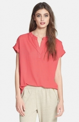 Pleione Split Neck Blouse at Nordstrom