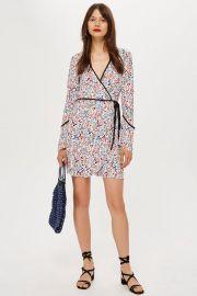 Plisse Print Wrap Mini Dress at Topshop